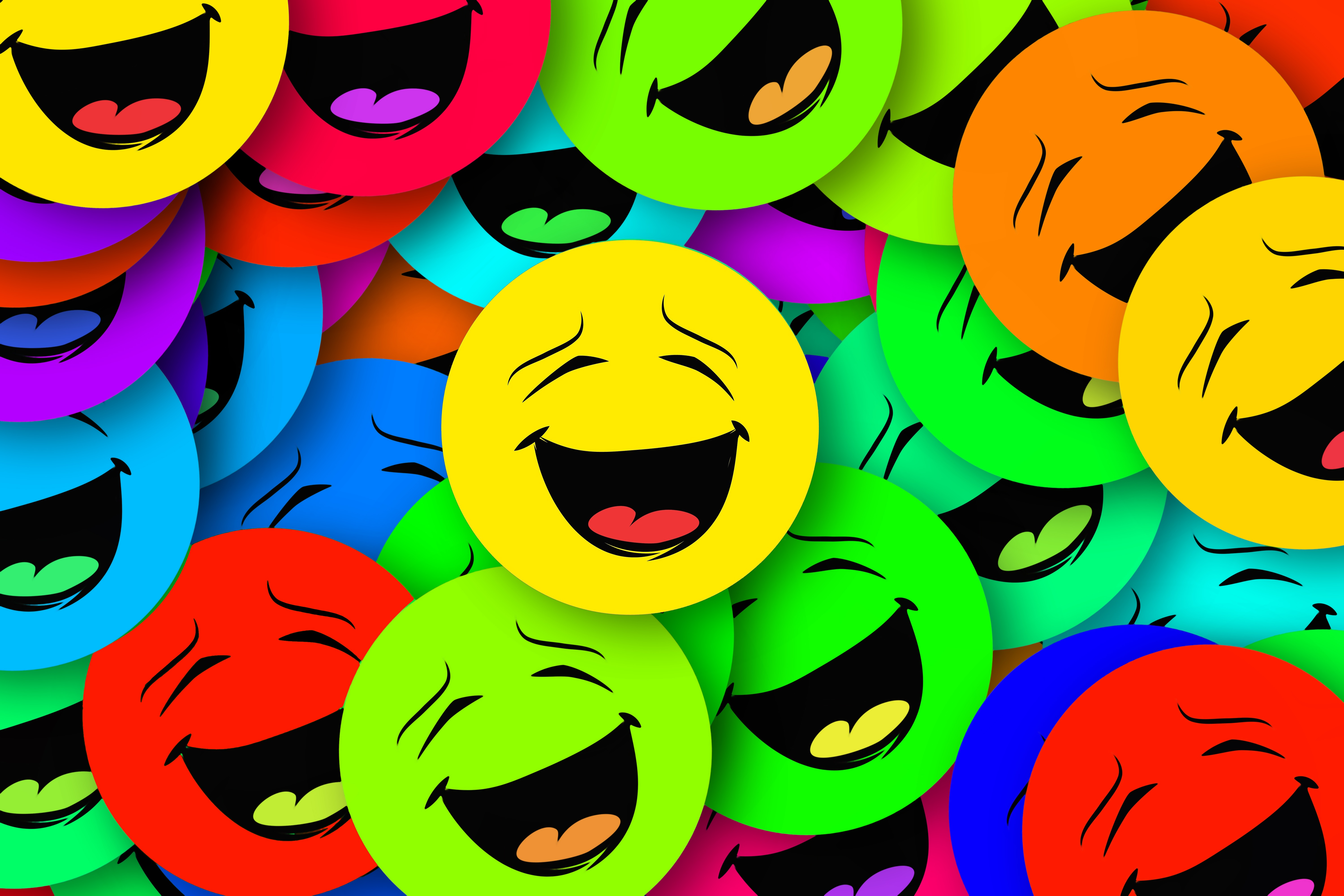 62461 download wallpaper Miscellanea, Miscellaneous, Multicolored, Motley, Smile, Emotions, Smilies, Smiles screensavers and pictures for free