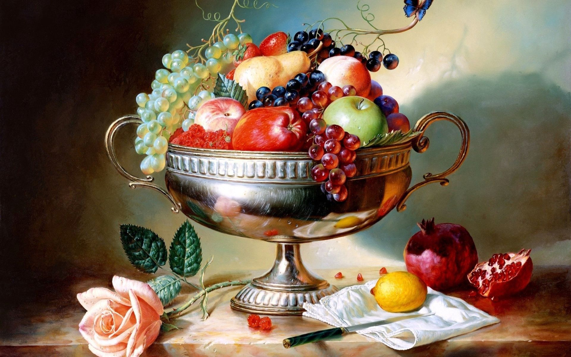 144183 Screensavers and Wallpapers Fruits for phone. Download Food, Vase, Garnet, Pomegranate, Grapes, Fruits, Apples pictures for free