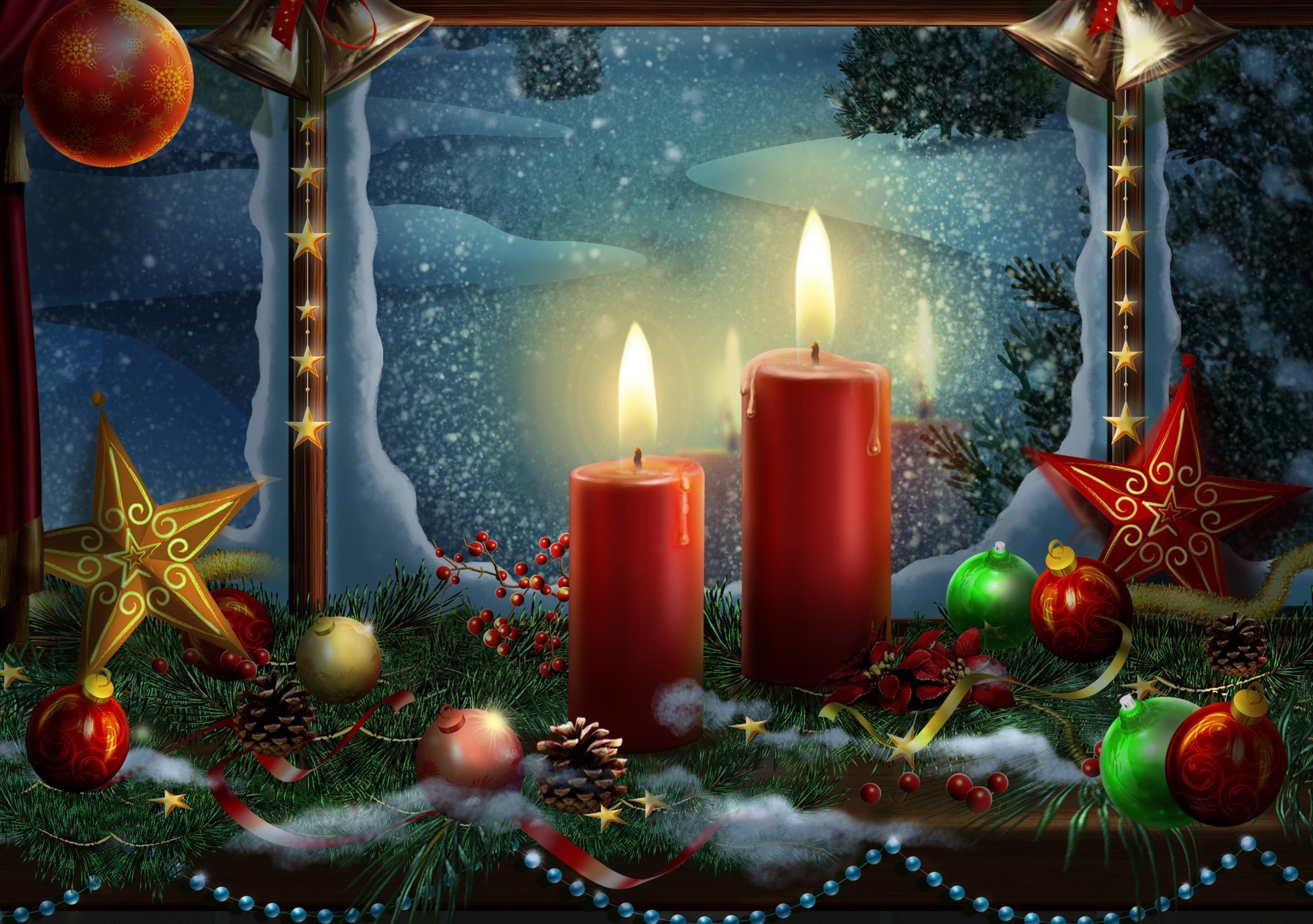 148016 скачать обои Праздники, Новый Год, Свечи, Звезды, Игрушки, Рождество, Праздник, Открытка - заставки и картинки бесплатно