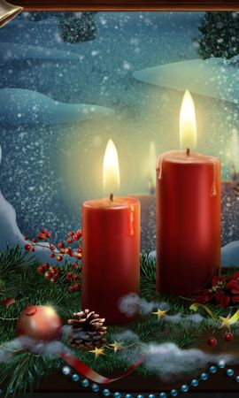 148016 Screensavers and Wallpapers Holidays for phone. Download Holidays, New Year, Holiday, Candles, Postcard, Toys, Christmas, Stars pictures for free