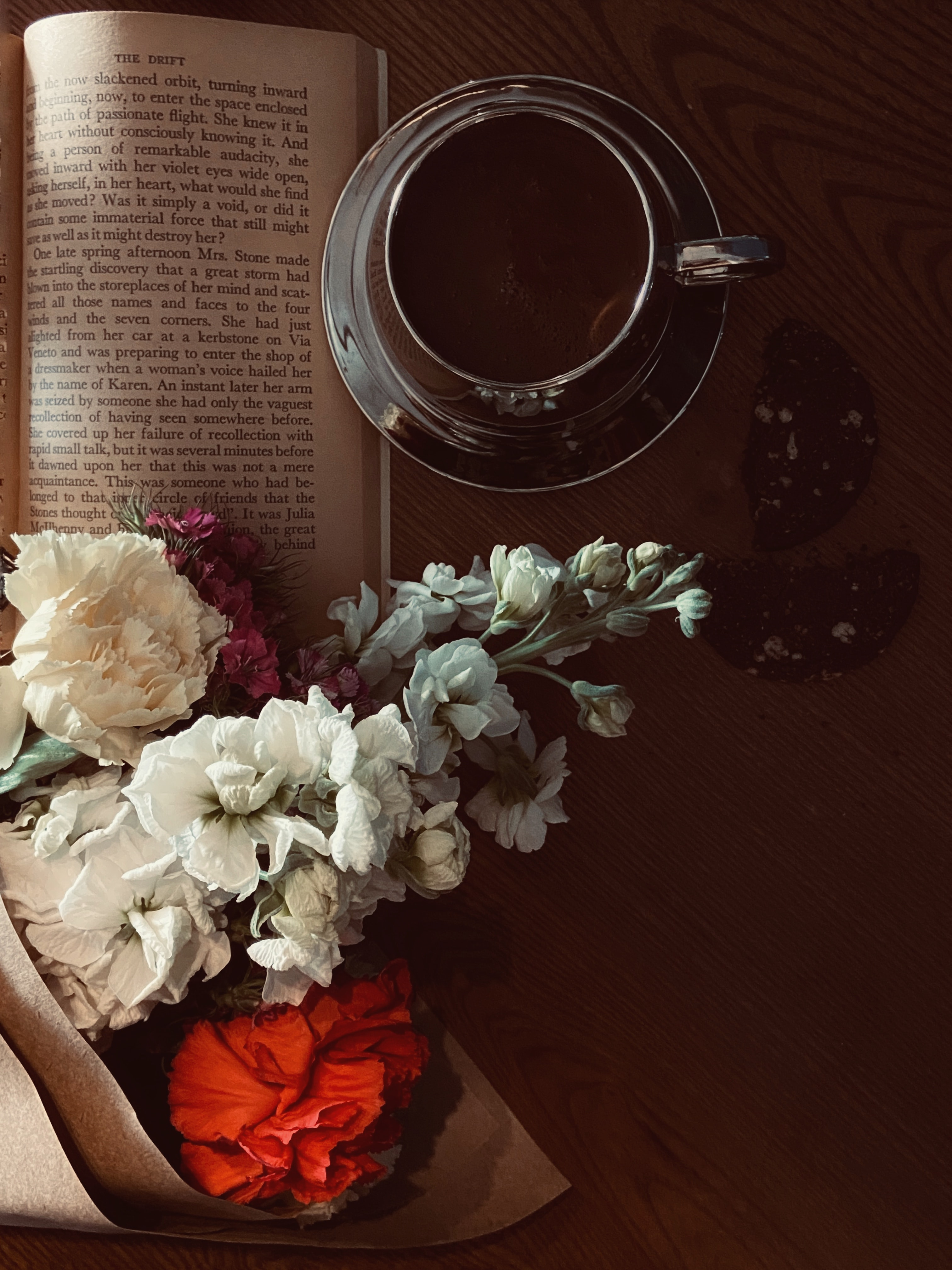 156438 Screensavers and Wallpapers Still Life for phone. Download Flowers, Still Life, Miscellanea, Miscellaneous, Cup, Book pictures for free
