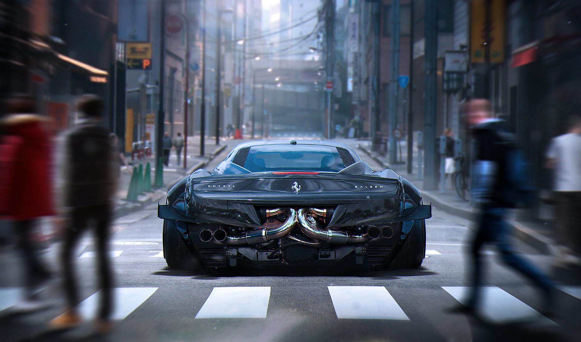 144869 download wallpaper Ferrari, Cars, City, Back View, Rear View, Crosswalk, Pedestrian Crossing, 458, Italia screensavers and pictures for free