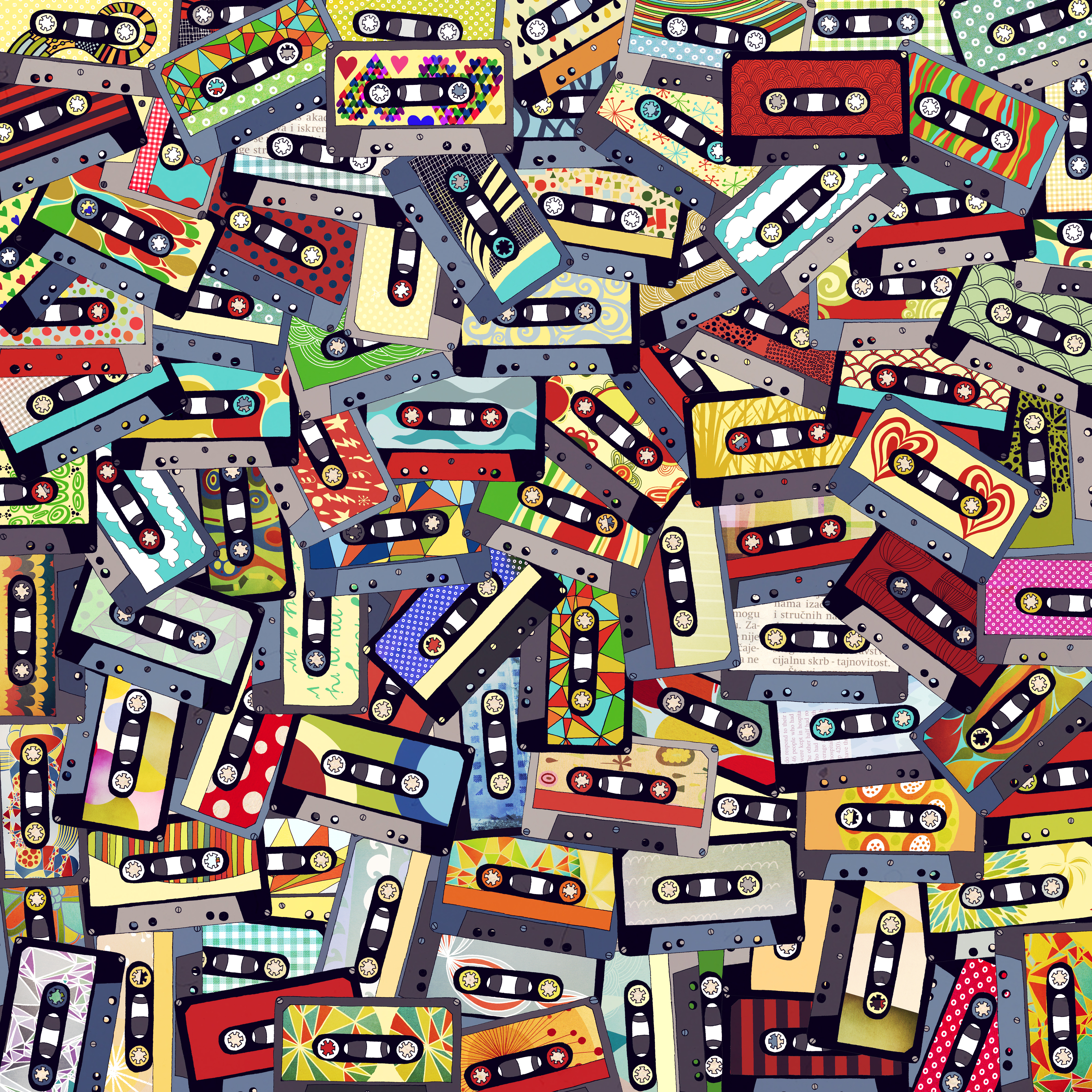 128508 download wallpaper Music, Multicolored, Motley, Collage, Tape Cassettes, Audio Cassettes screensavers and pictures for free