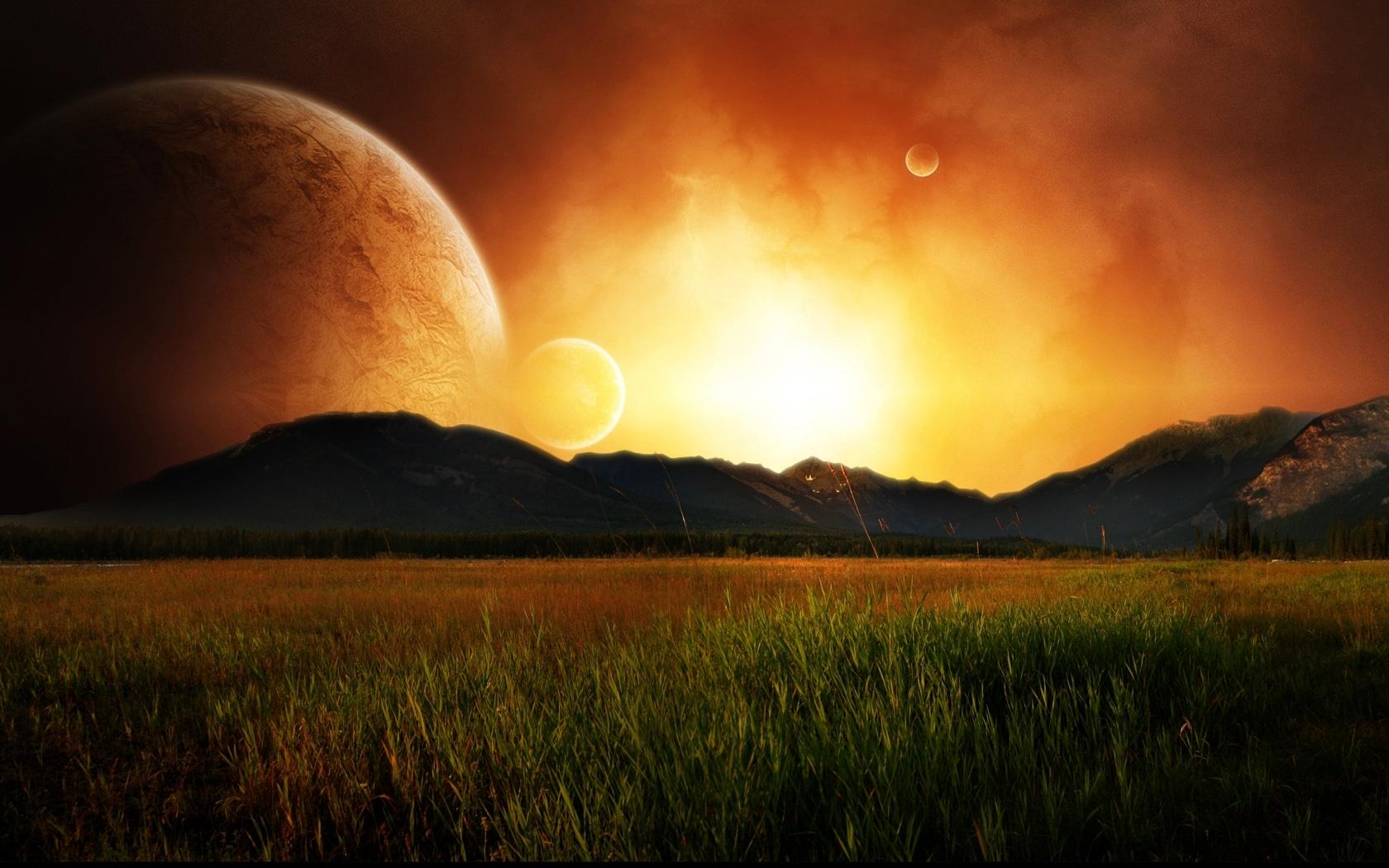 9139 скачать обои Пейзаж, Закат, Небо, Планеты, Солнце - заставки и картинки бесплатно