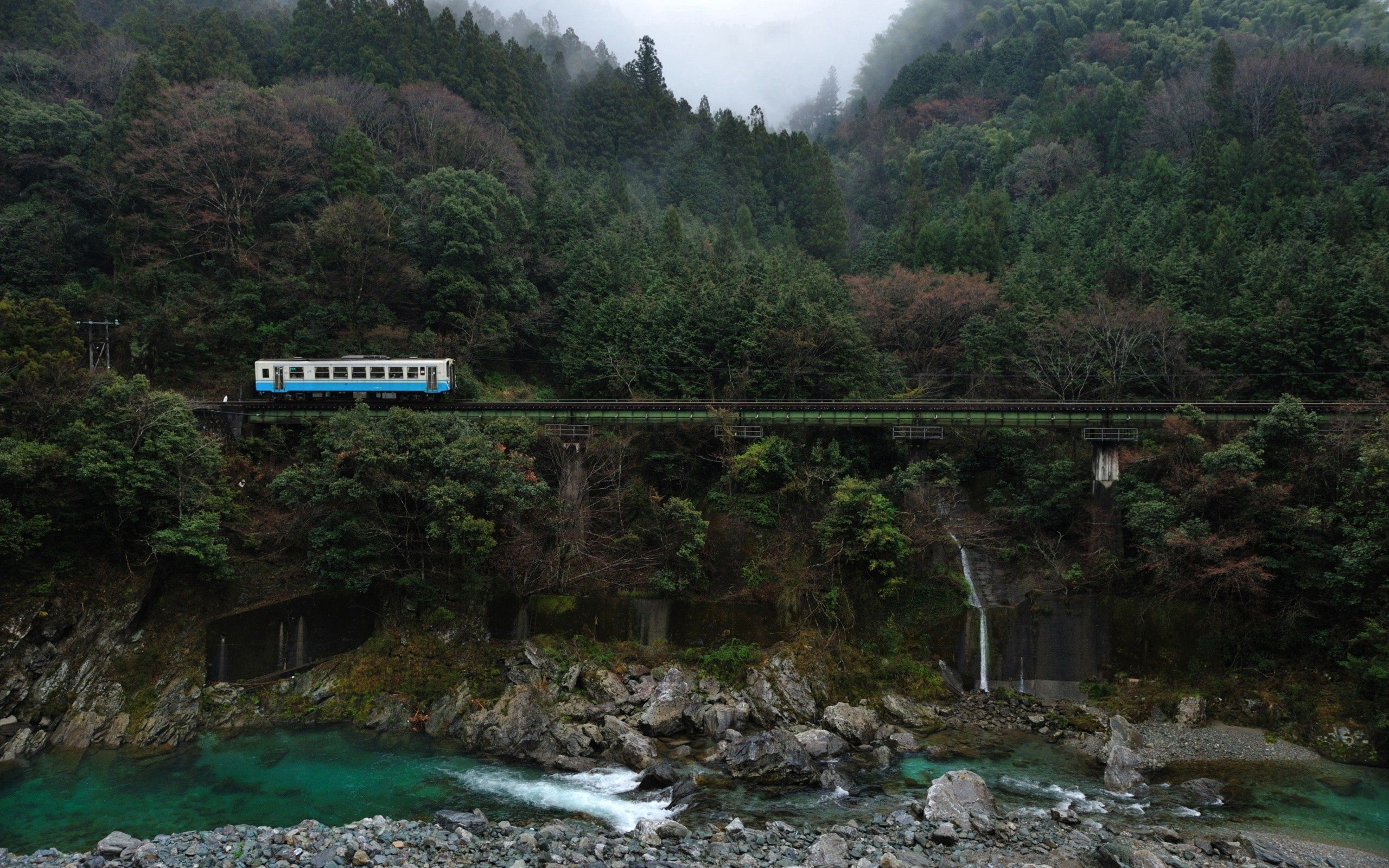 95864 download wallpaper Nature, Bridge, Railway, Trees, Rivers, Stones screensavers and pictures for free