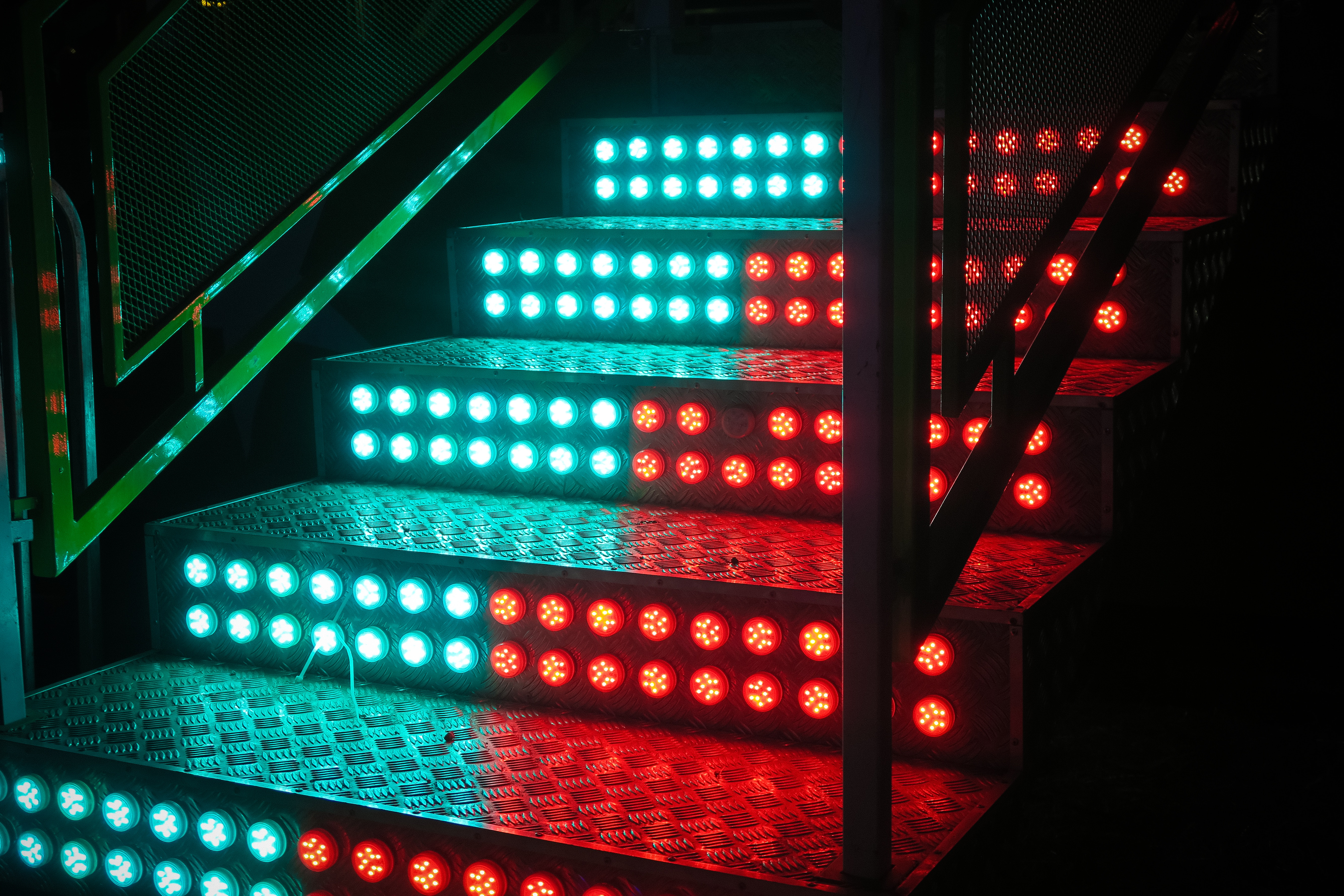 136827 download wallpaper Miscellanea, Miscellaneous, Neon, Backlight, Illumination, Stairs, Ladder, Steps, Light Bulbs screensavers and pictures for free
