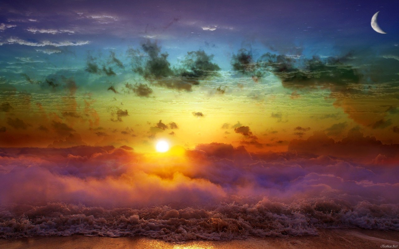 14914 download wallpaper Landscape, Sky, Sea, Art Photo, Sun, Clouds, Rainbow screensavers and pictures for free
