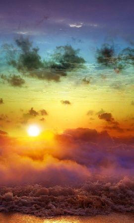 14914 скачать обои Пейзаж, Небо, Море, Артфото, Солнце, Облака, Радуга - заставки и картинки бесплатно