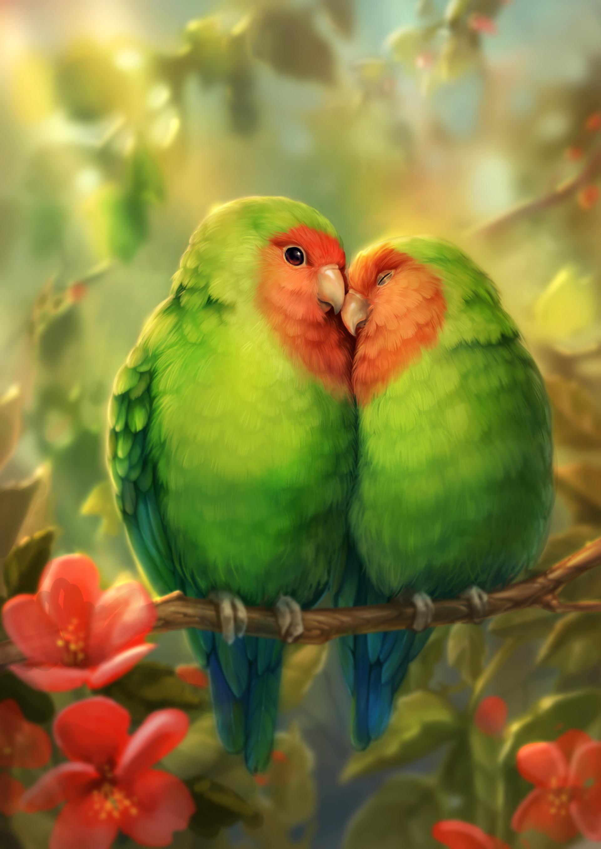 51875 Hintergrundbild herunterladen Vögel, Kunst, Papageien, Nett, Schatz, Romantik - Bildschirmschoner und Bilder kostenlos