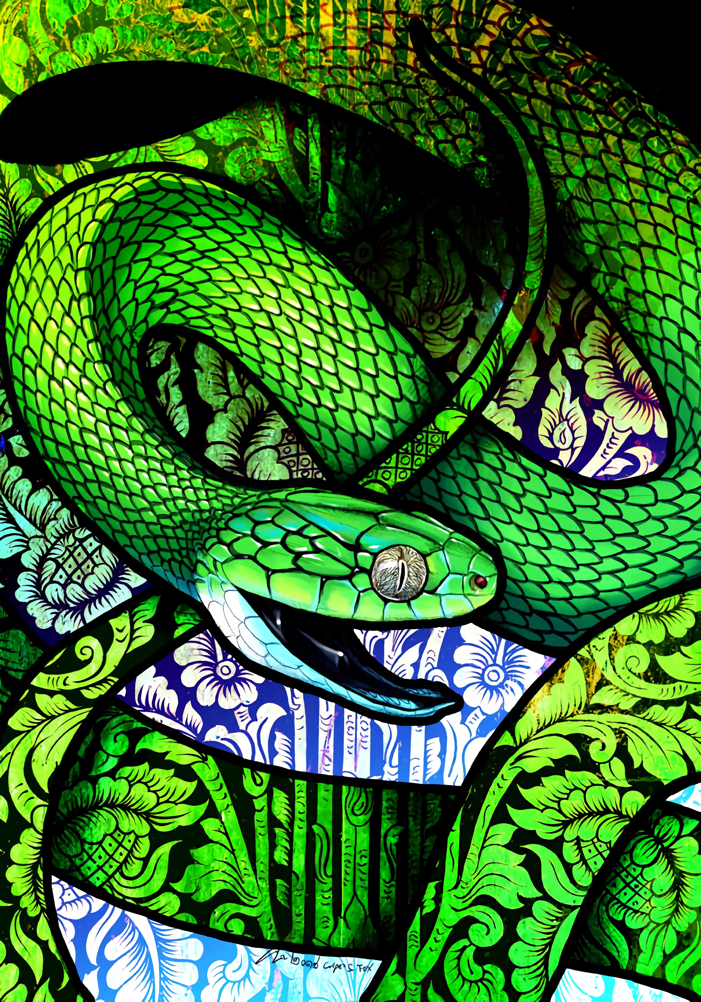 141149 Screensavers and Wallpapers Snake for phone. Download Art, Pattern, Snake, Scales, Scale, Ornament pictures for free