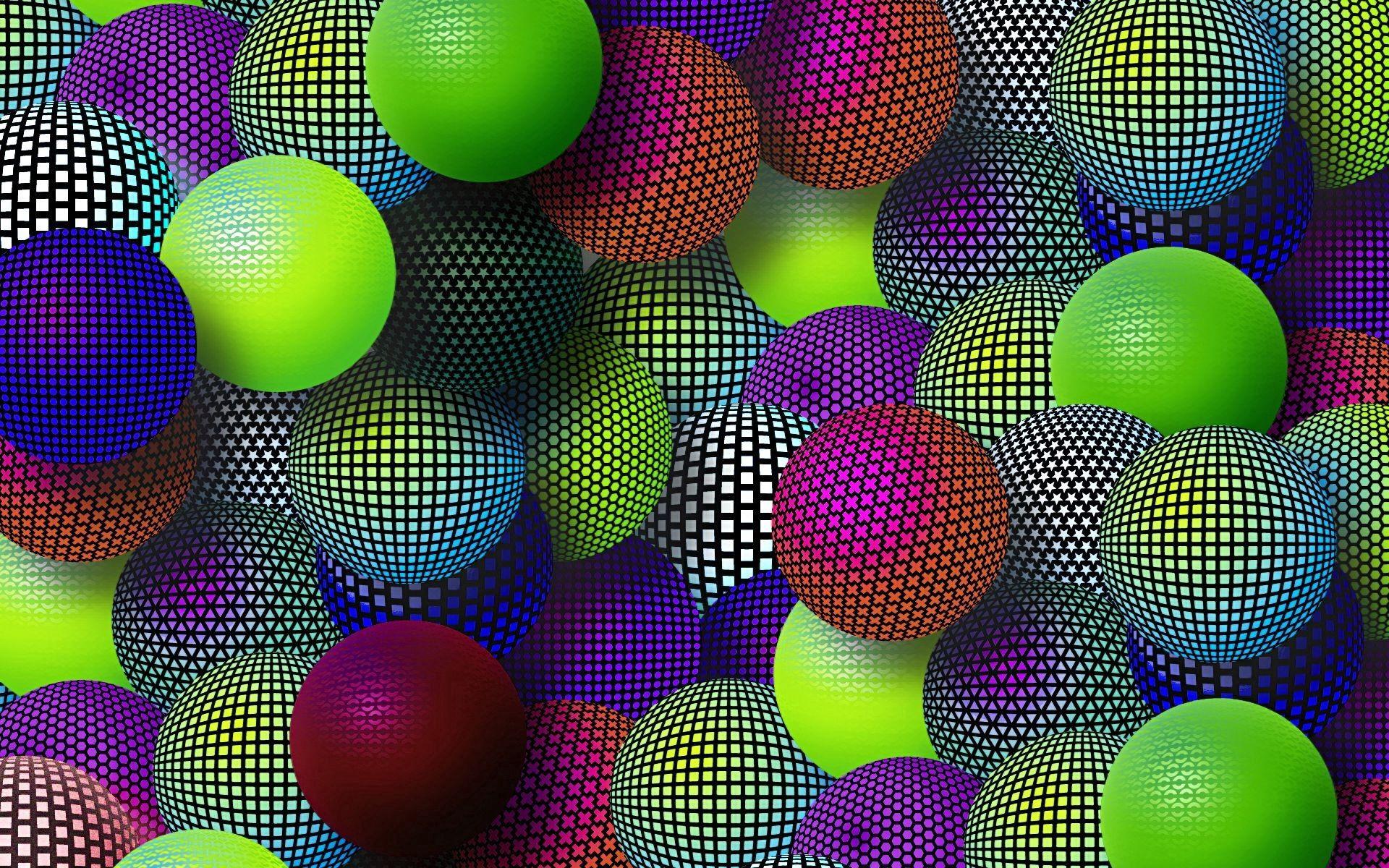 59388 Salvapantallas y fondos de pantalla 3D en tu teléfono. Descarga imágenes de 3D, Pelotas, Bolas, Multicolor, Abigarrado, Red, Rejilla, Un Montón De, Multitud, Diversidad, Variedad gratis