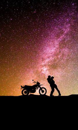 135503 télécharger le fond d'écran Coupler, Paire, Silhouettes, Embrasser, Ciel Étoilé, Amour, Moto, Motocyclette - économiseurs d'écran et images gratuitement