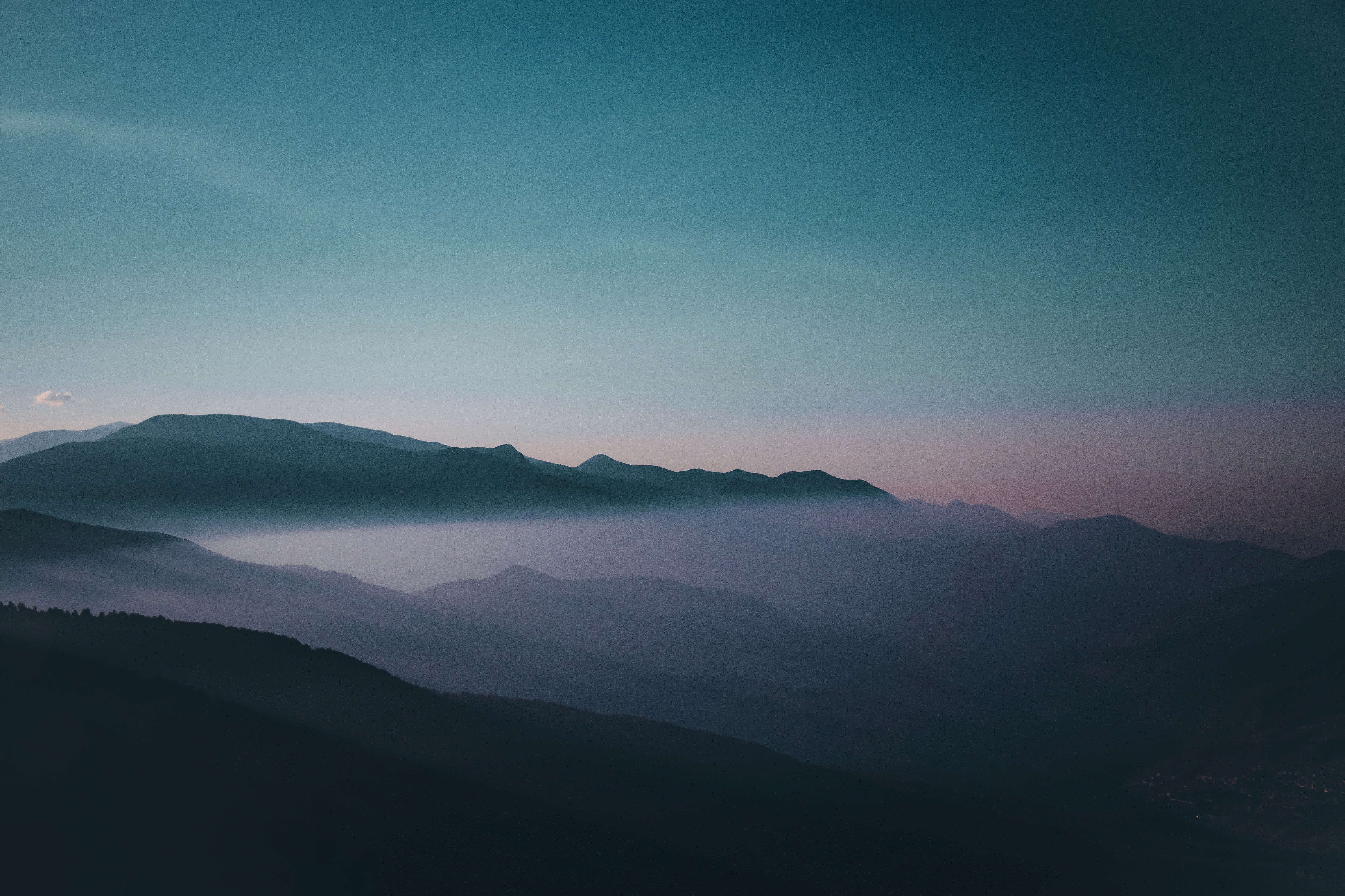 127700 download wallpaper Nature, Fog, Tops, Vertex, Sky, Dusk, Twilight, Iran, Mountains screensavers and pictures for free