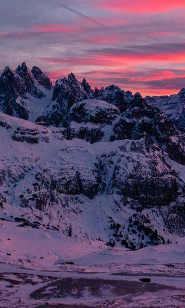 142141 скачать обои Природа, Гора, Снег, Вершины, Закат, Тре-Чиме-Ди-Лаваредо, Горный Массив - заставки и картинки бесплатно