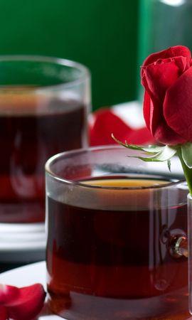25110 скачать обои Растения, Цветы, Еда, Розы, Чашки, Напитки - заставки и картинки бесплатно