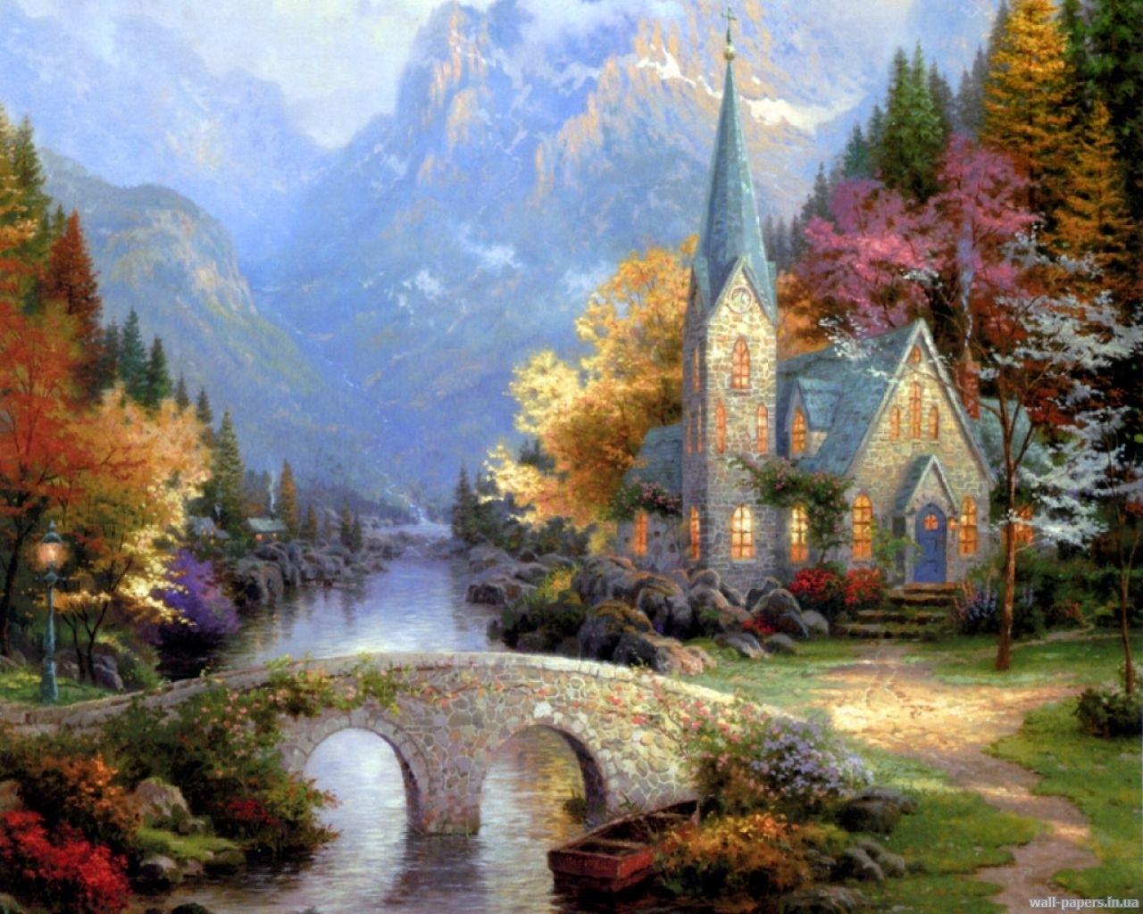Скачать картинку Пейзаж, Дома, Мосты, Деревья, Река, Осень в телефон бесплатно.