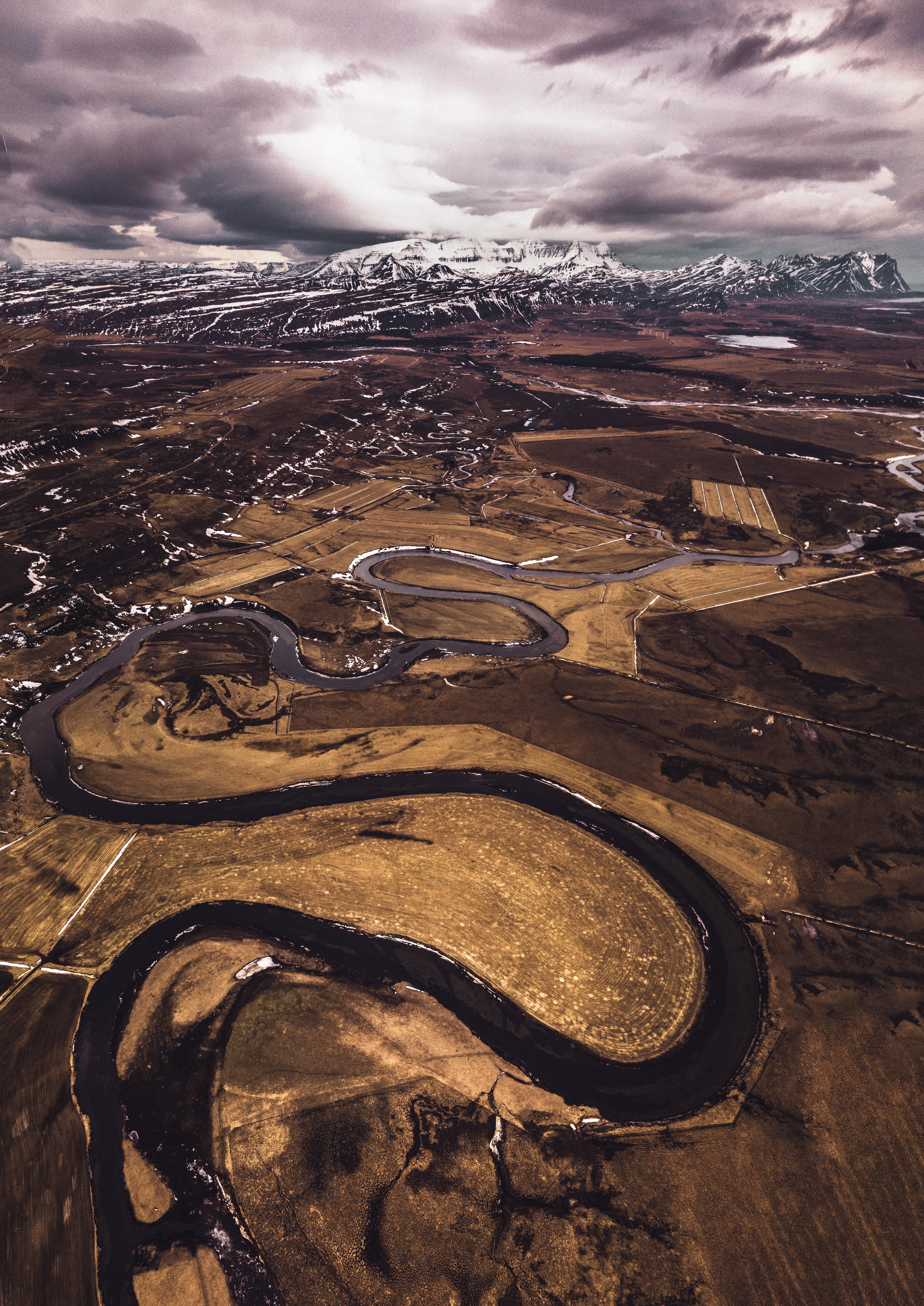 96245 Hintergrundbild herunterladen Winterreifen, Natur, Roads, Mountains, Schnee, Blick Von Oben, Island - Bildschirmschoner und Bilder kostenlos