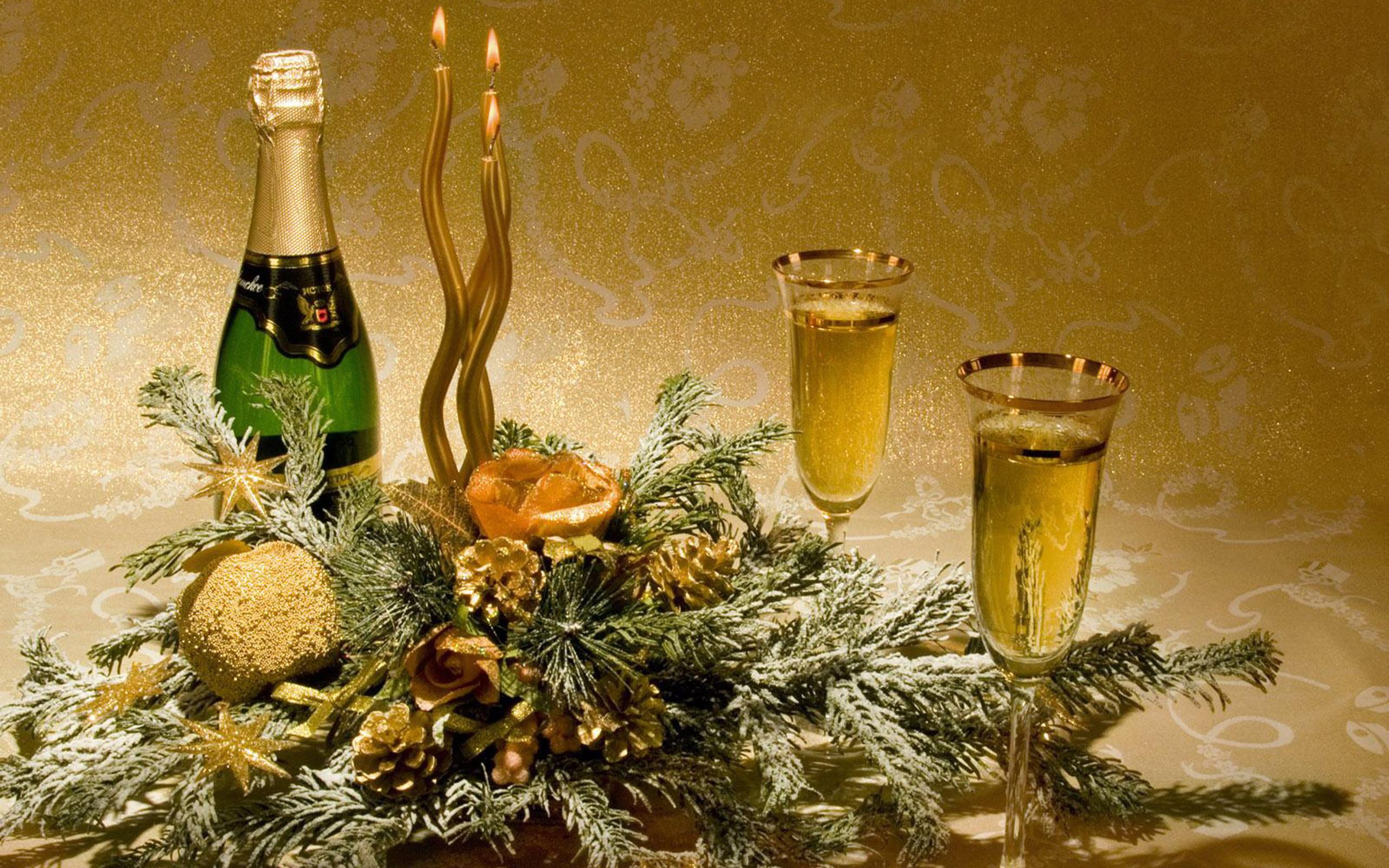 22654 скачать обои Праздники, Новый Год (New Year), Вино, Свечи, Напитки, Натюрморт - заставки и картинки бесплатно