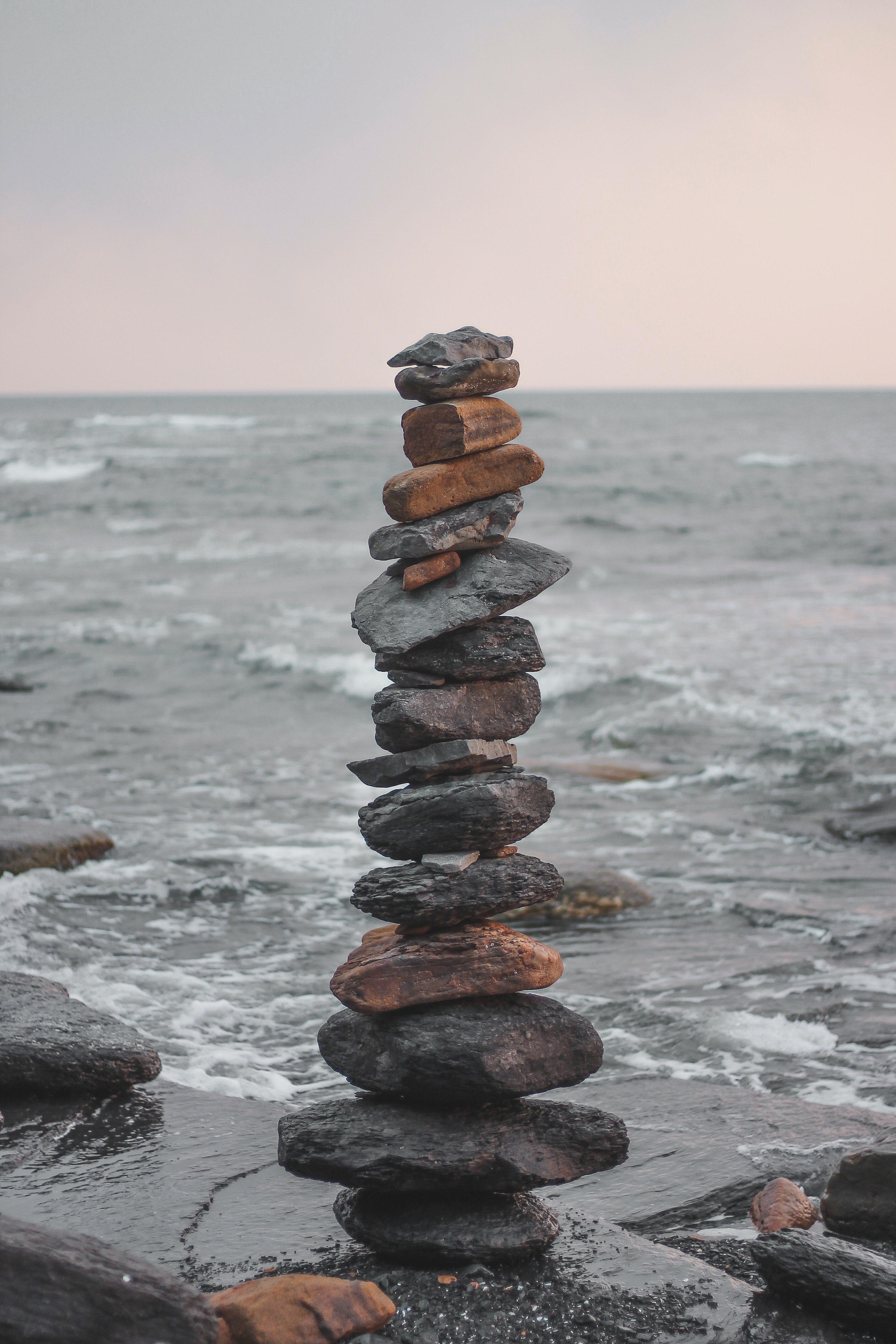 92371 download wallpaper Nature, Stones, Sea, Waves, Balance, Harmony screensavers and pictures for free