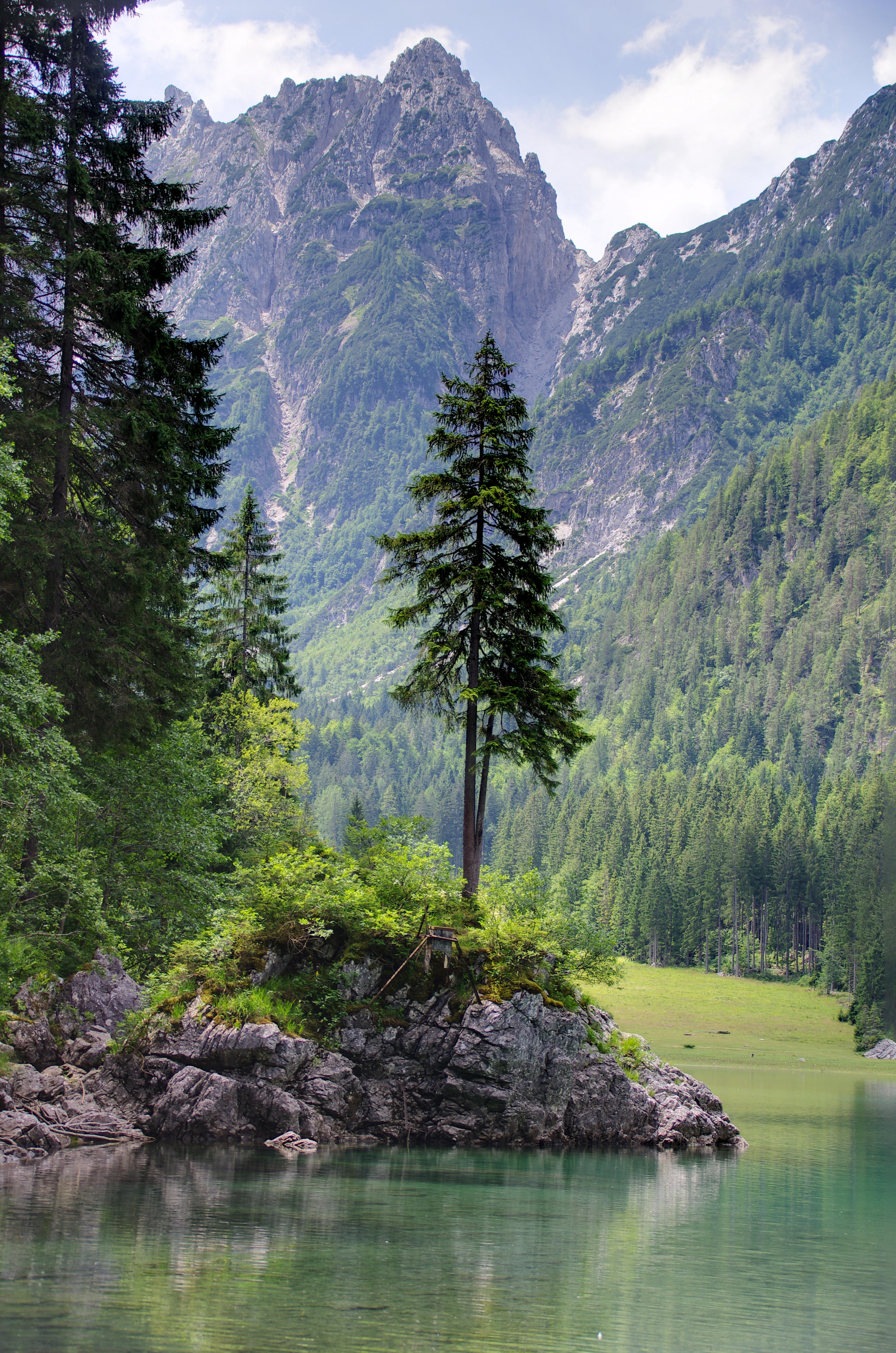 58104 завантажити шпалери Пейзаж, Природа, Дерева, Гори, Озеро, Берег, Банк - заставки і картинки безкоштовно