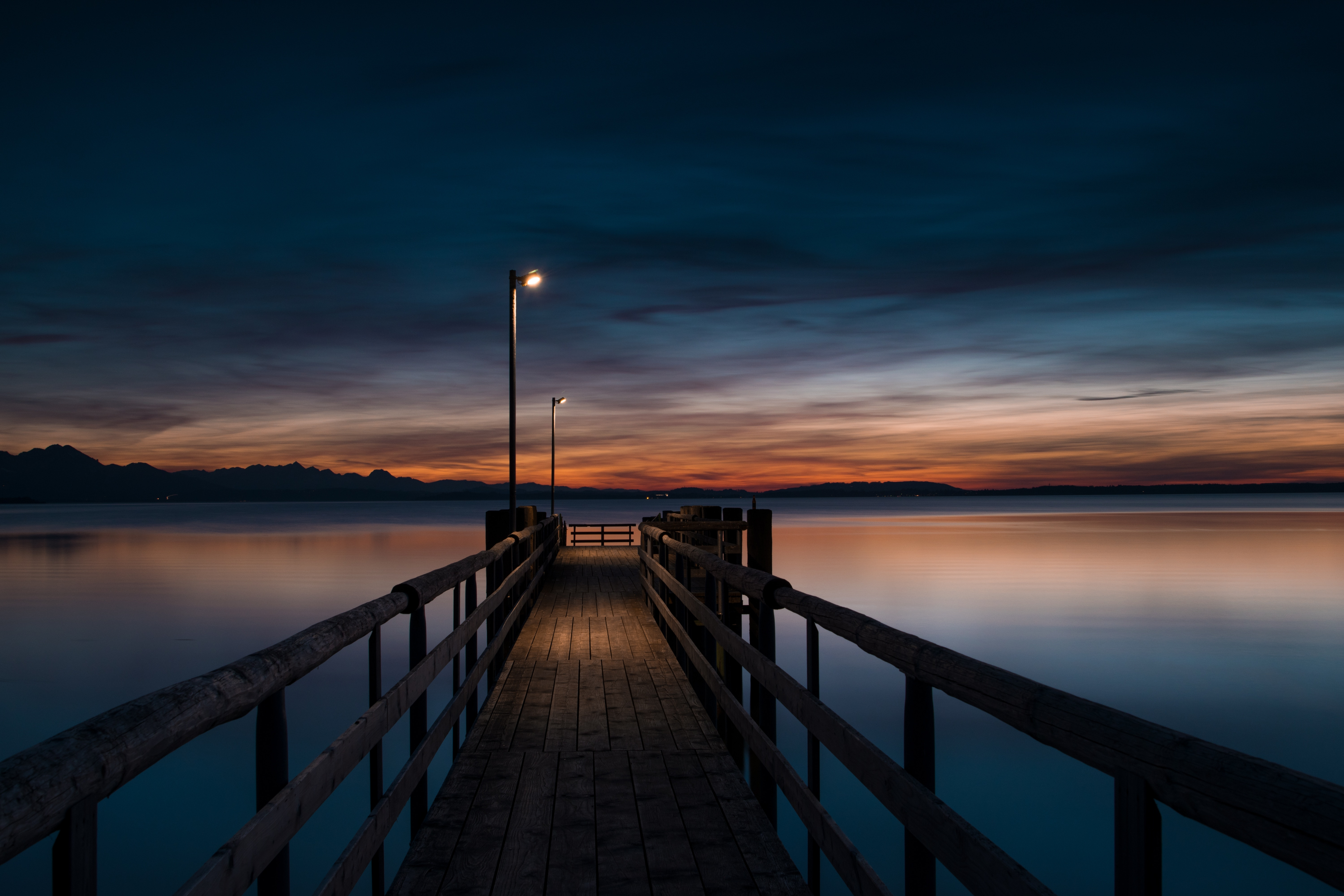91813 Screensavers and Wallpapers Twilight for phone. Download Wooden, Nature, Water, Twilight, Lights, Pier, Wood, Lanterns, Dusk, Evening pictures for free