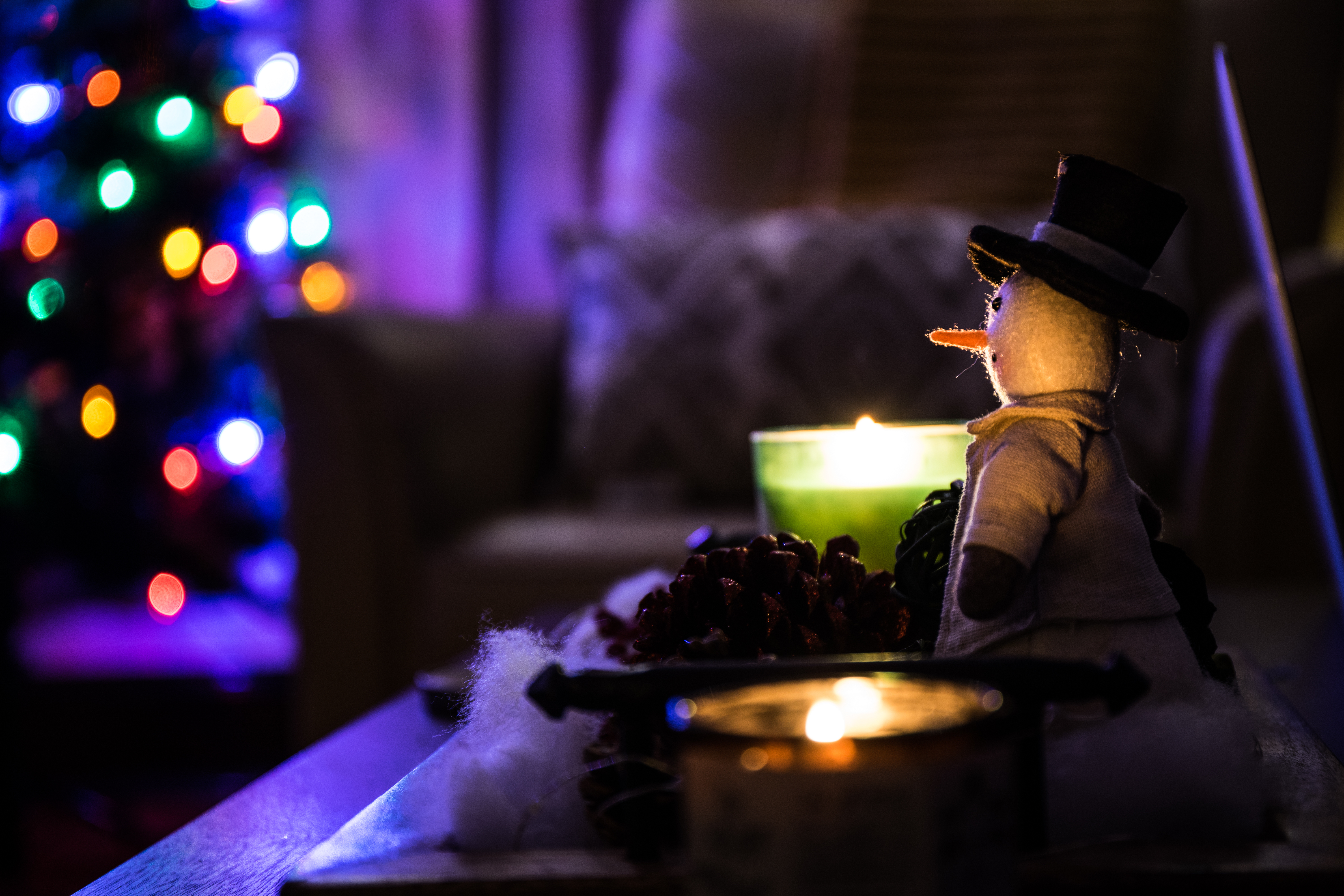 106787 download wallpaper Holidays, Candles, Snowman, Christmas screensavers and pictures for free