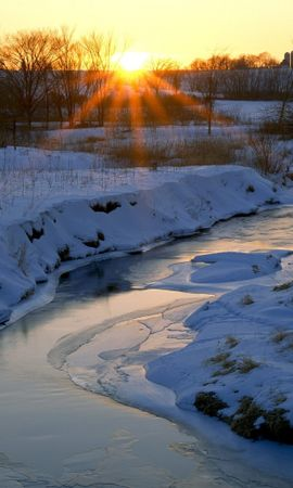 24881 скачать обои Пейзаж, Зима, Река, Закат, Снег - заставки и картинки бесплатно