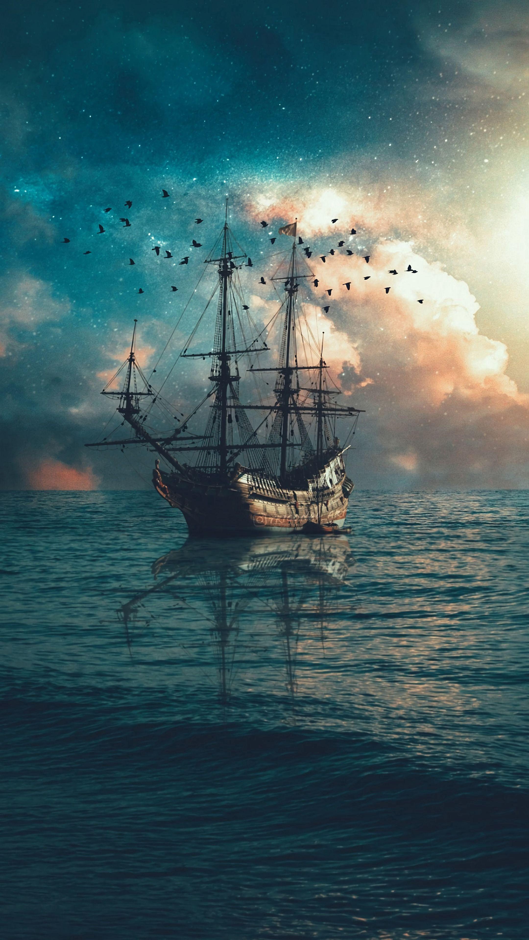 148905 Заставки и Обои Волны на телефон. Скачать Разное, Корабль, Море, Сумерки, Волны, Птицы картинки бесплатно