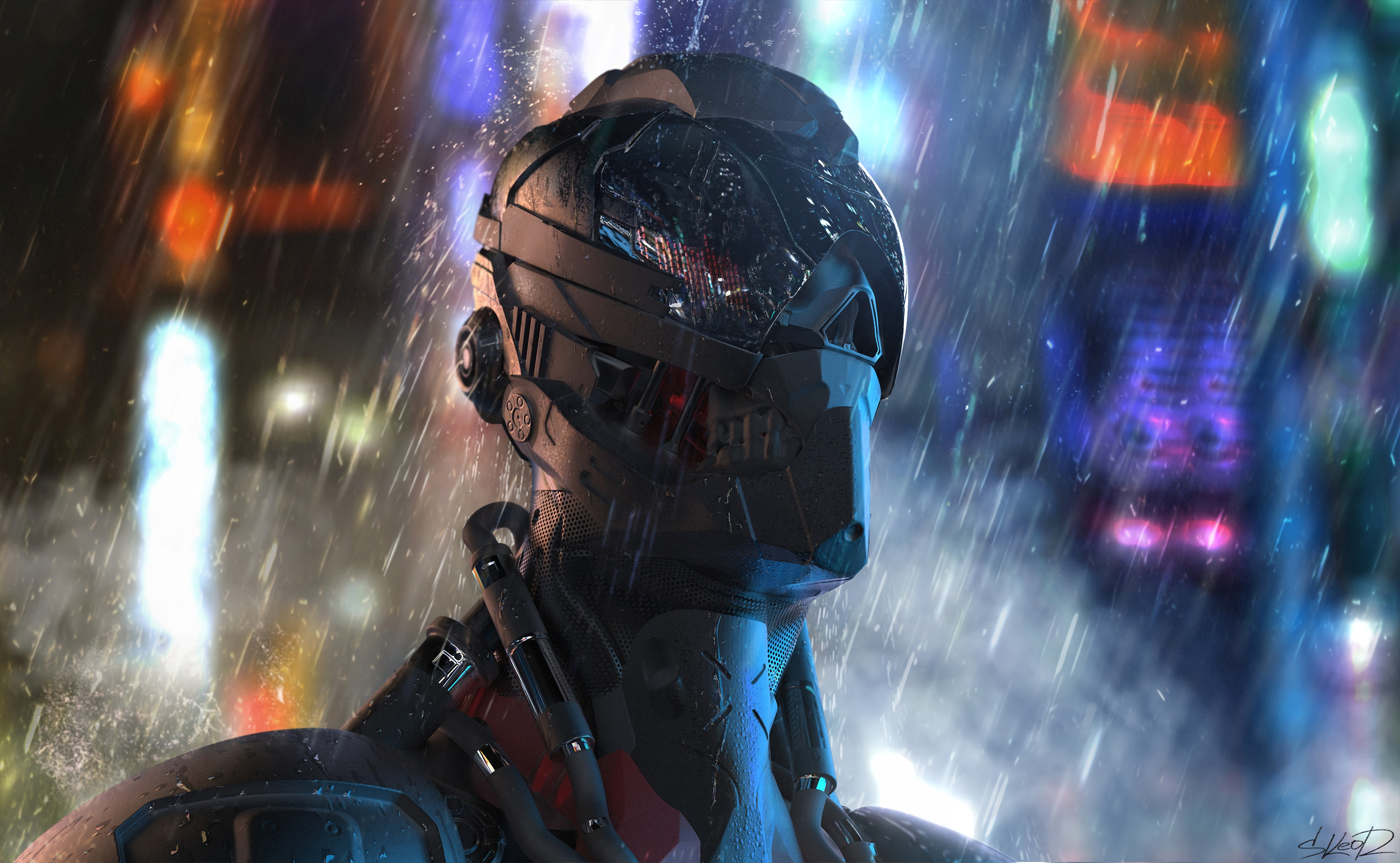 127735 Screensavers and Wallpapers Robot for phone. Download Art, Rain, Robot, Cyborg, Future pictures for free