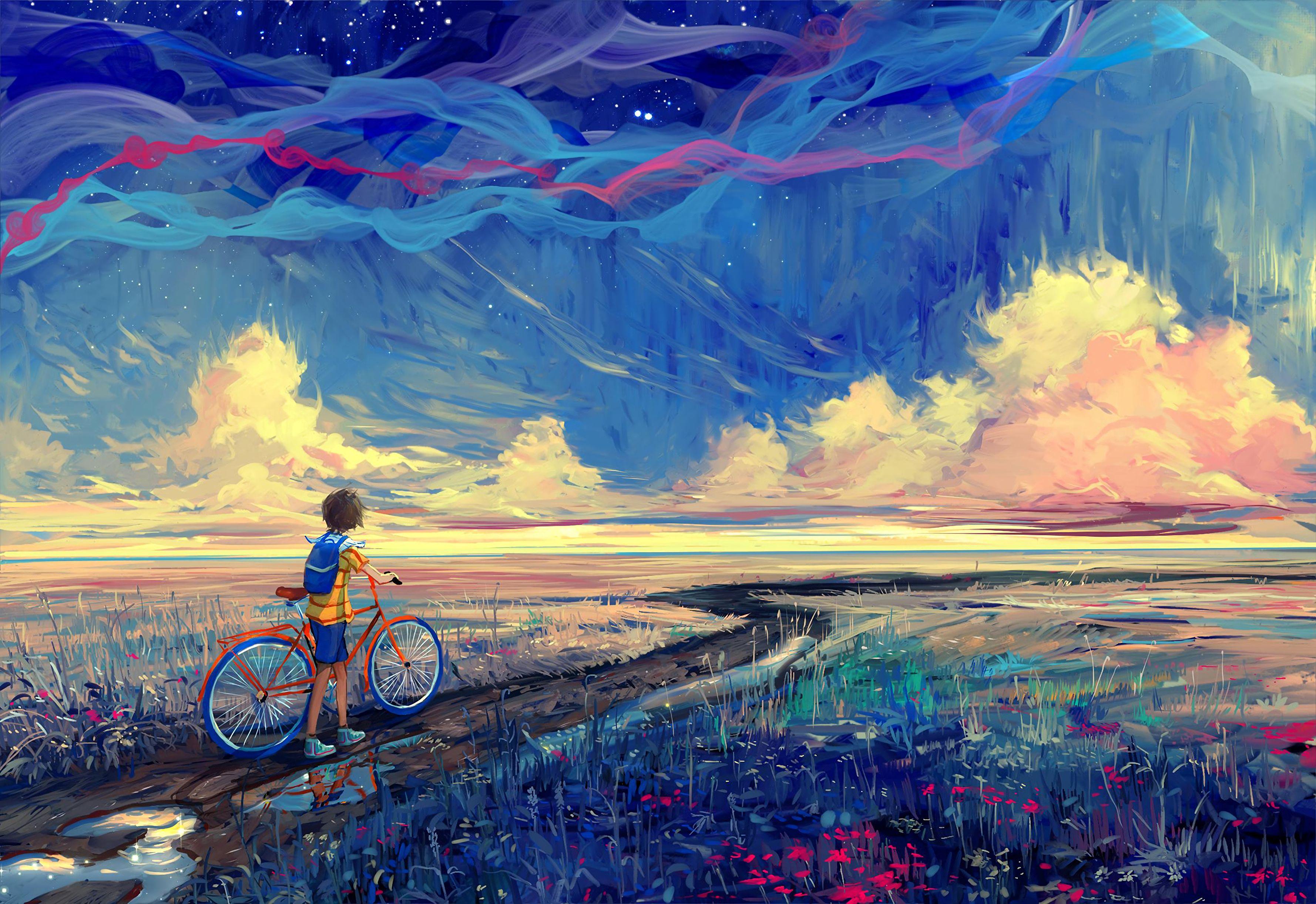 112701壁紙のダウンロード自転車, アート, サイクリスト, 道, パス-スクリーンセーバーと写真を無料で